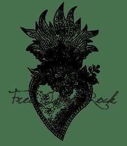 Logo-Coeur enflammé et fleurs - Photographe de mariage-Free-Love-Rock-