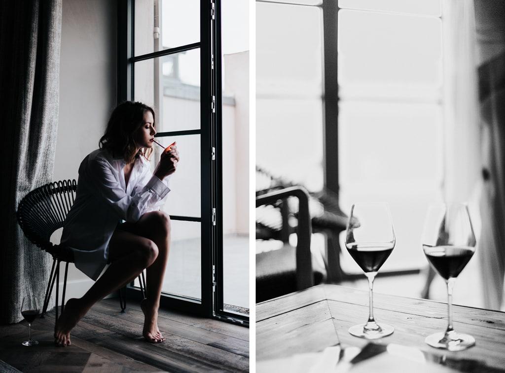 cigarette-vin rouge-mariage Glamour-Bastide saint julien-DelphinaCphotographie
