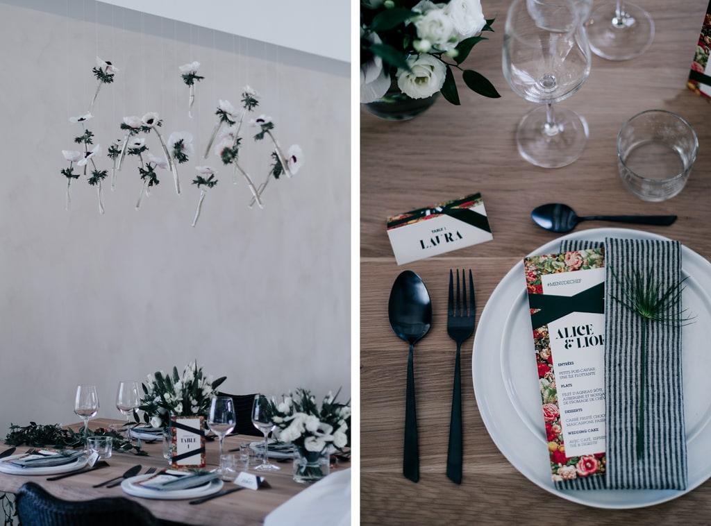 Fleurs anémone-décoration noir et blanc-Bastide saint julien-DelphinaCphotographie