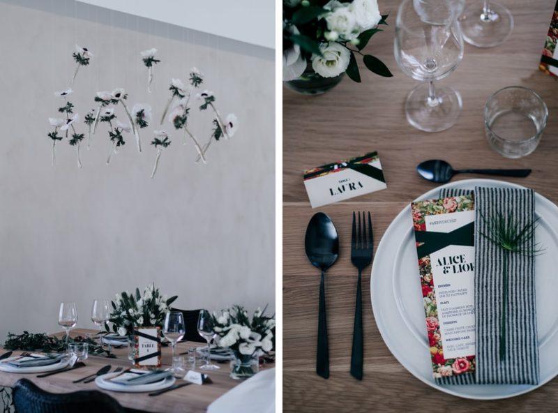 Fleurs anémone-décoration noir et blanc-Bastide saint julien-Delphine Closse photographe