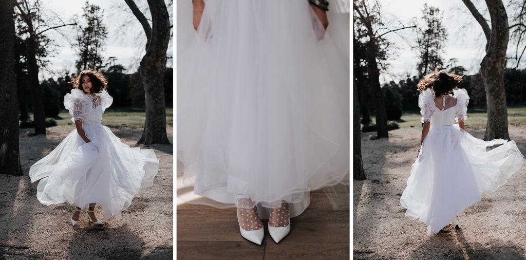 Escarpins blancs-Robe de mariée éco-responsable --inspiration Madonna - blog photographe Delphine Closse
