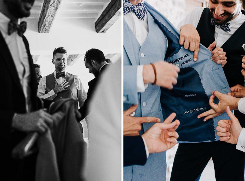 Préparatifs du marié avec garçons d'honneur au chateau du Griffon-Delphine Closse