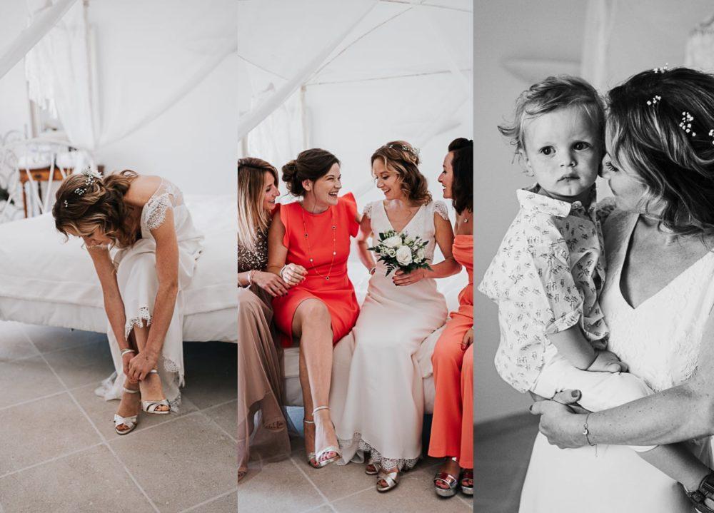 Mariée et se demoiselles d'honneur au chateau du Griffon-Delphine Closse