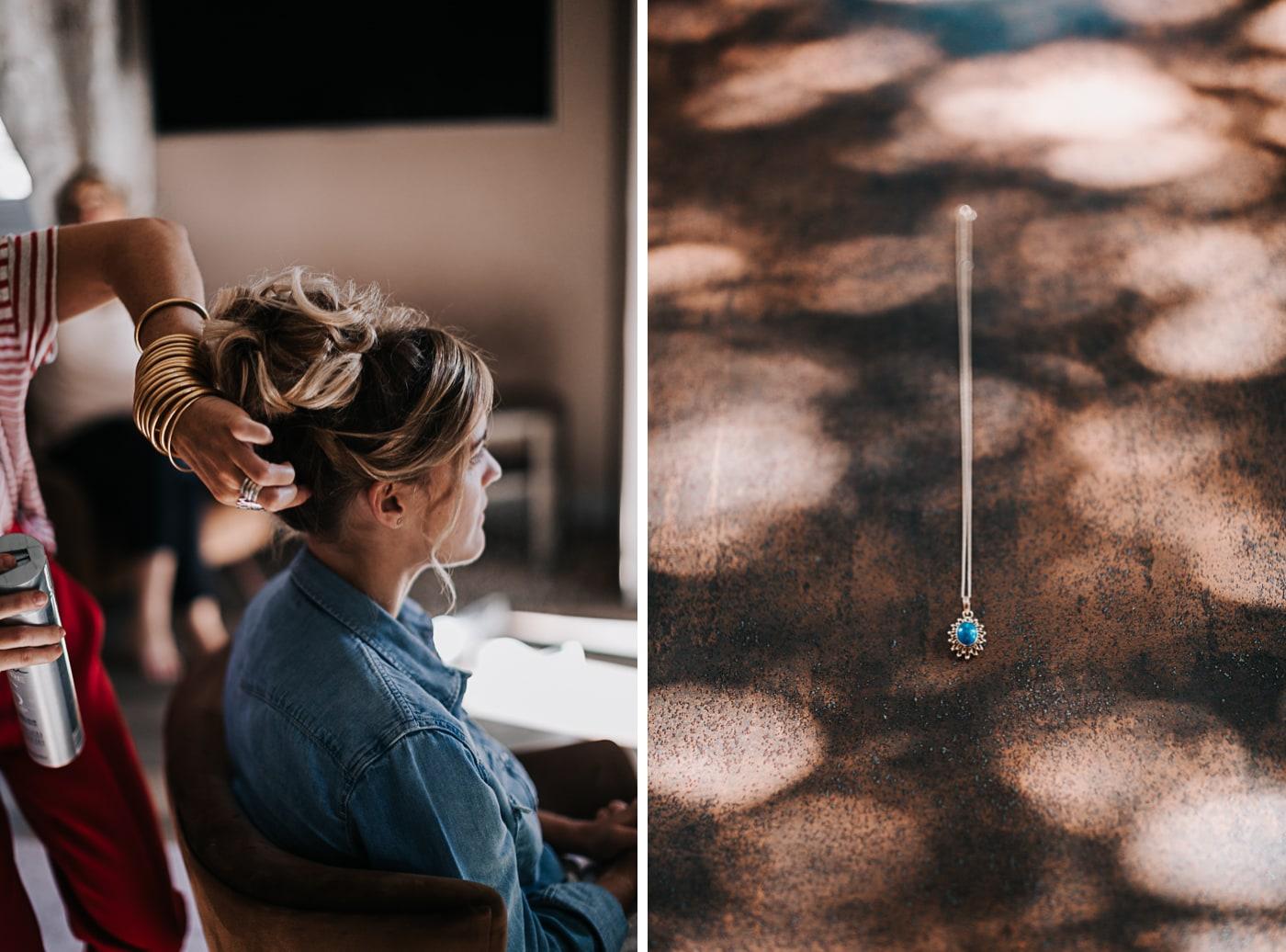 Bijoux et coiffure de la mariée par Falling In Love au Château Latour Vaucros par Delphine Closse