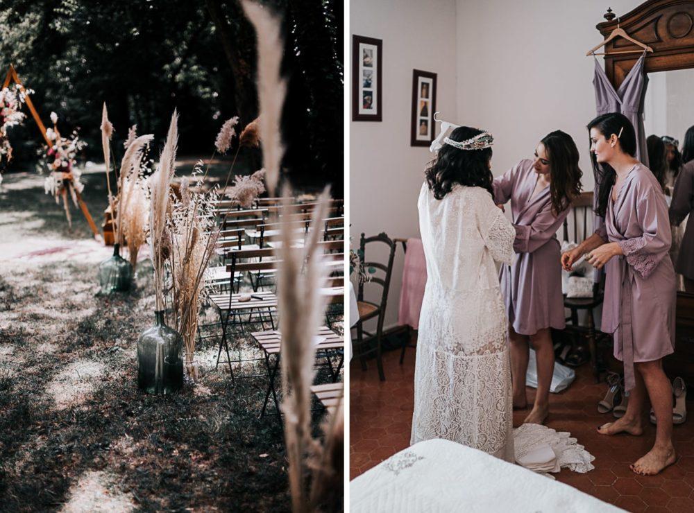 préparatif mariée-Mariage bohème au domaine du Taleur à Avignon-Delphine Closse