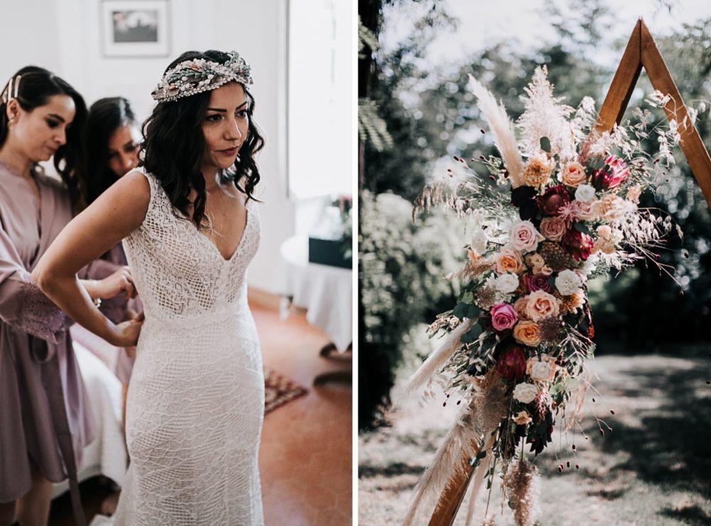Robe de mariée-Mariage bohème au domaine du Taleur à Avignon-Delphine Closse