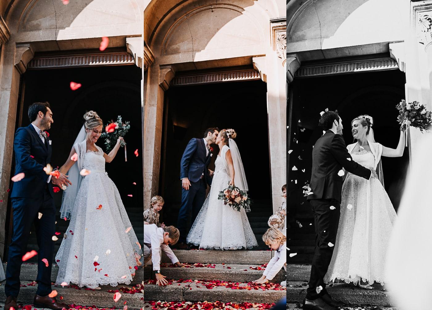 Triptique mariage-sortie de cérémonie religieuse à Chateauneuf du Pape-Delphine Closse