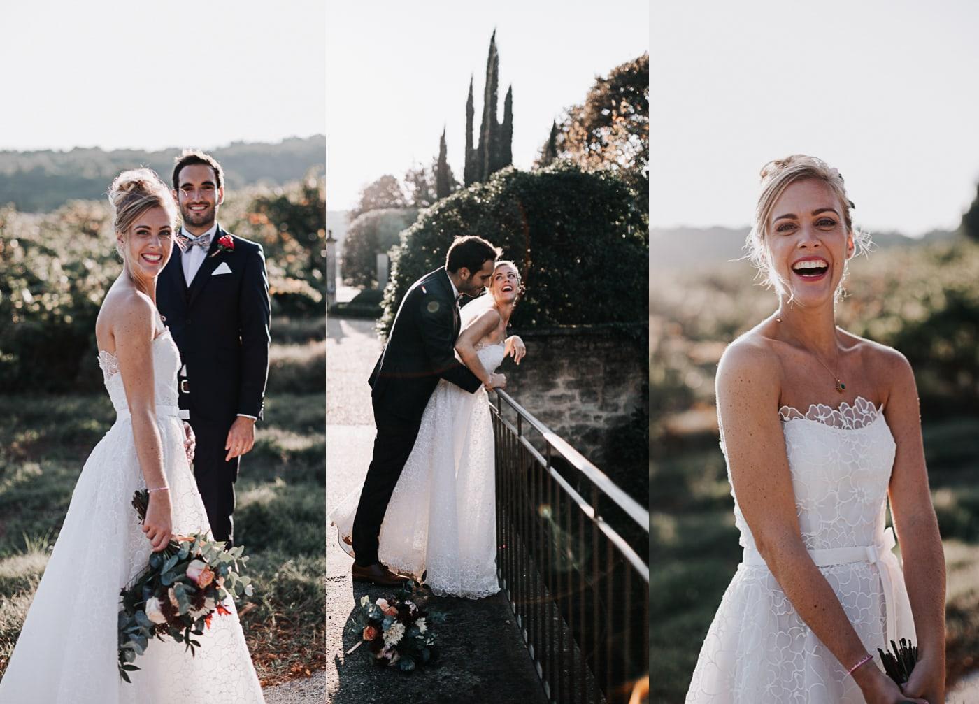Triptique séance photos de mariée au Chateau Latour Vaucros-Delphine Closse