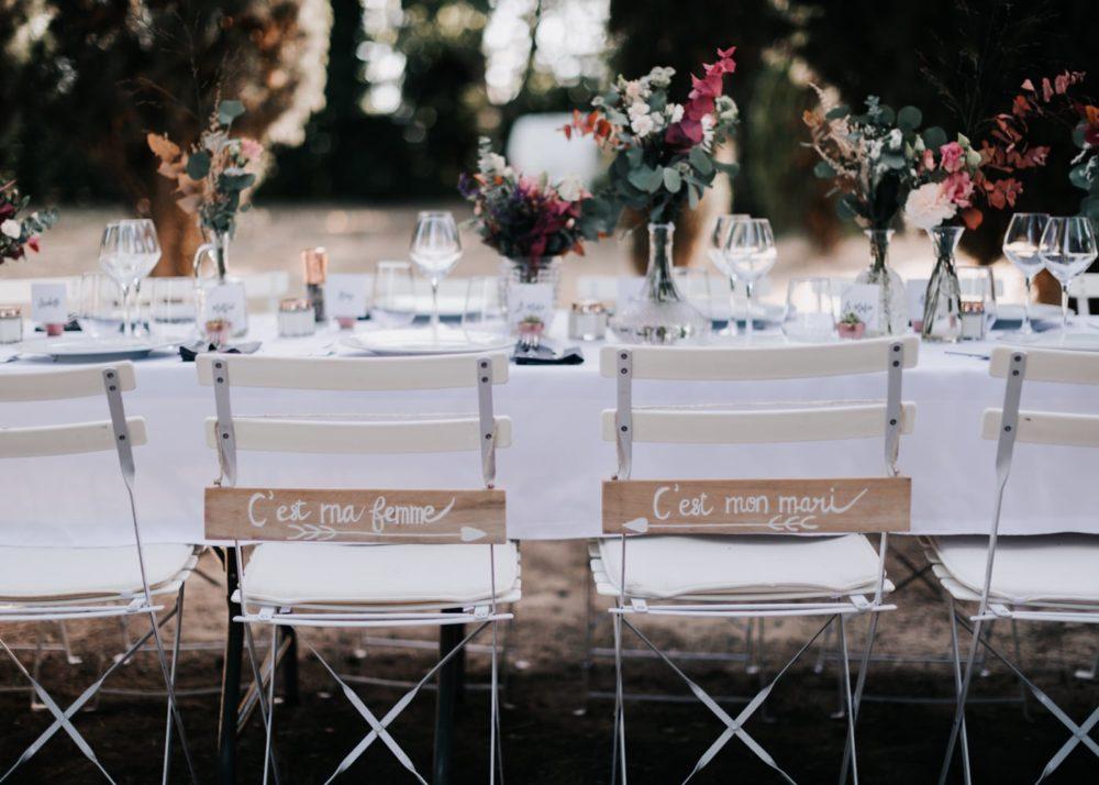Table des mariés-Décoration de table mariage par Virginie D'Alessio à Toulon-mariage Cadière D'Azur- Domaine de Rochebelle #freeloverock-Delphine Closse