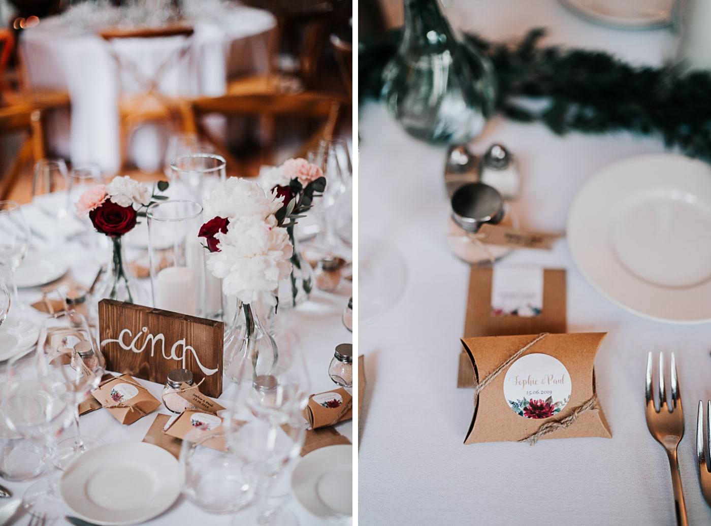 Décoration tables-les joyeuses créatives-Mariage Sophie&Paul-Domaine du Taleur-Delphine Closse